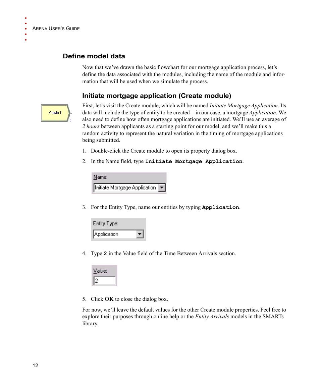 Define model data, Initiate mortgage application (create module