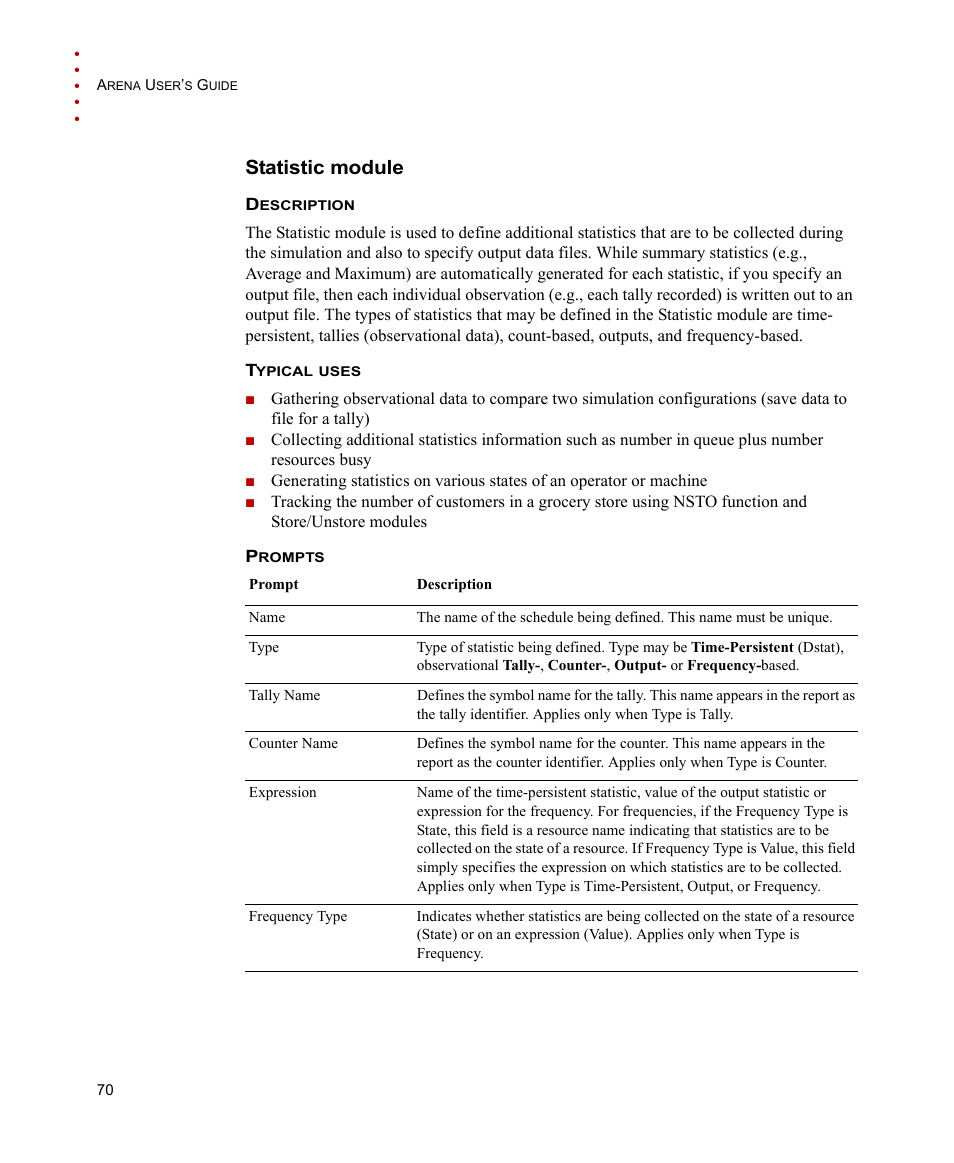 Statistic Module Rockwell Automation Arena Users Guide User Manual