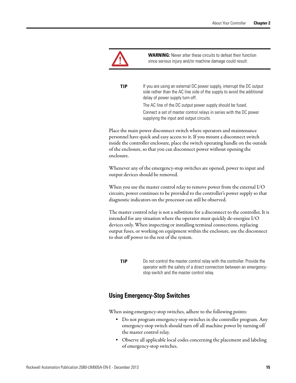 Using Emergency Stop Switches Rockwell Automation 2080 Lc20 20qbbr Estop Relay Wiring Diagram Micro820 20 Point Programmable Controllers User Manual Page 23 162