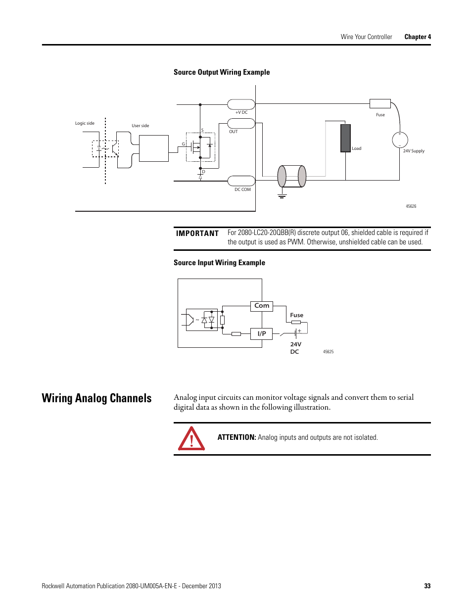 Wiring Analog Channels Rockwell Automation 2080 Lc20 20qbbr Micro Monitor Diagram Micro820 20 Point Programmable Controllers User Manual Page 41 162
