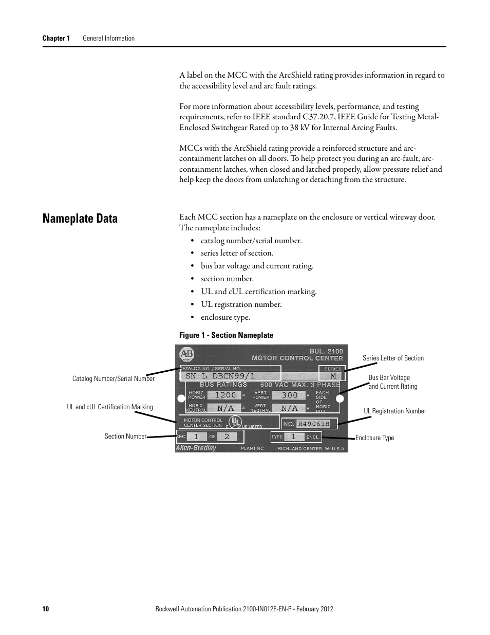 Nameplate data | Rockwell Automation 2100 CENTERLINE Low