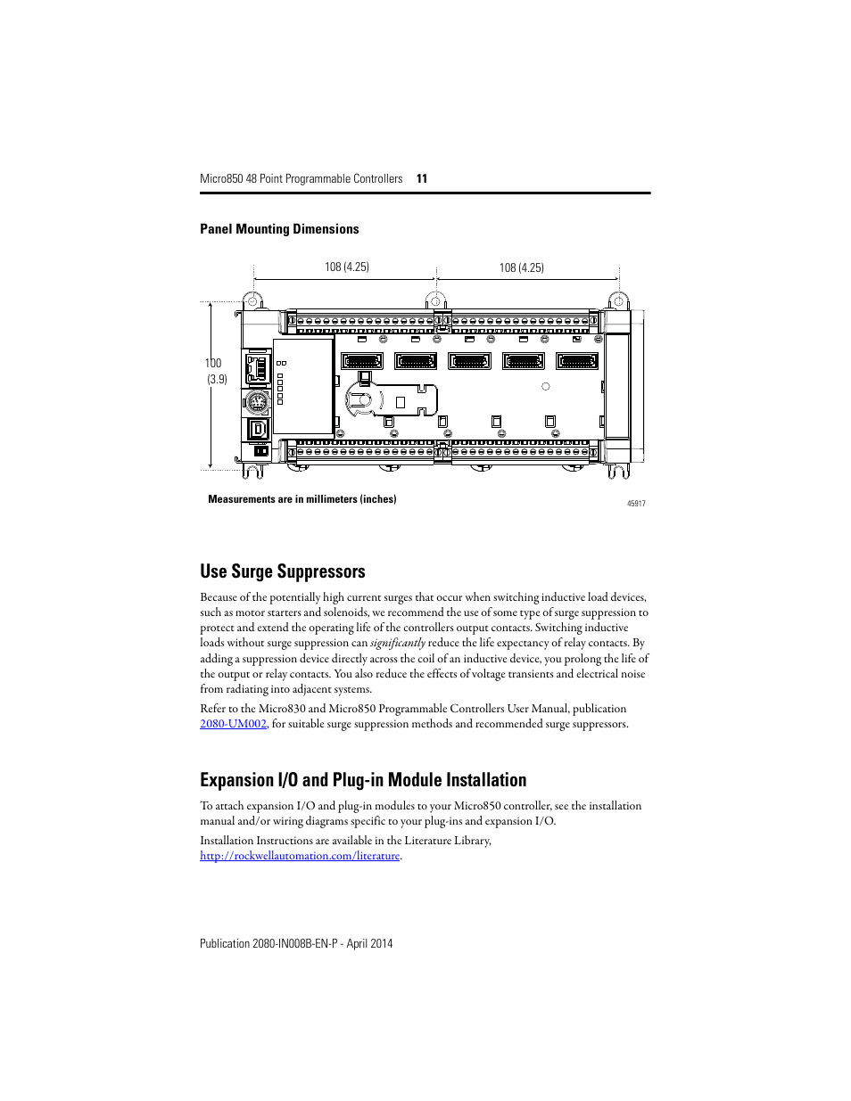 rockwell automation 2080 lc50 48awb_48qbb_48qvb_48qwb micro850 48 point programmable controllers installation instructions page11 use surge suppressors, expansion i o and plug in module micro 850 wiring diagram at webbmarketing.co