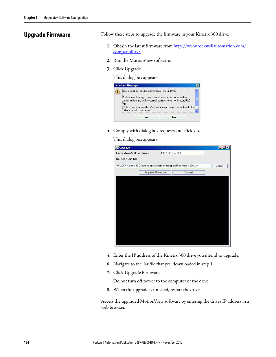 Upgrade firmware | Rockwell Automation 2097-Vxxx Kinetix 300