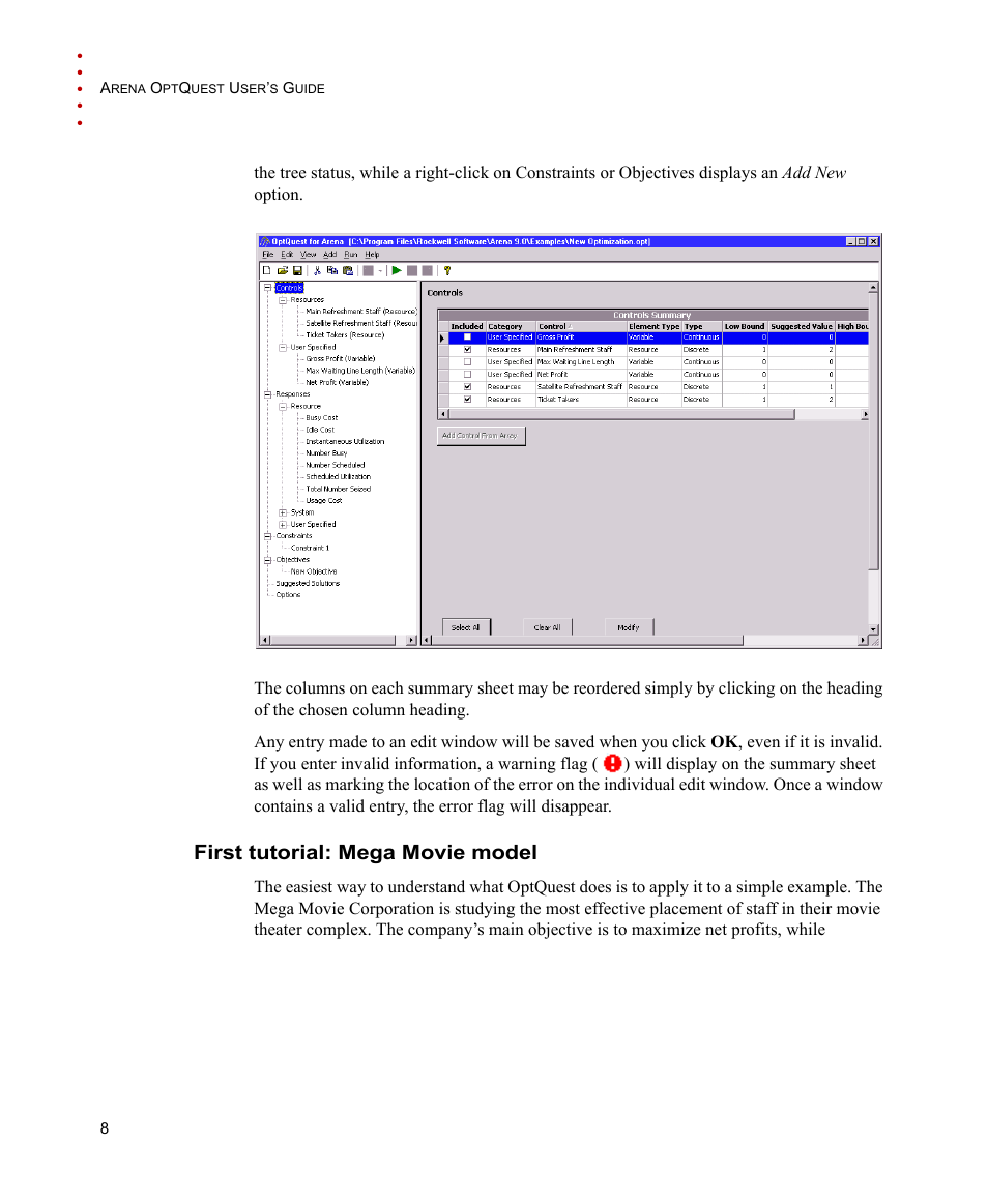 First tutorial: mega movie model   Rockwell Automation Arena OptQuest Users  Guide User Manual  