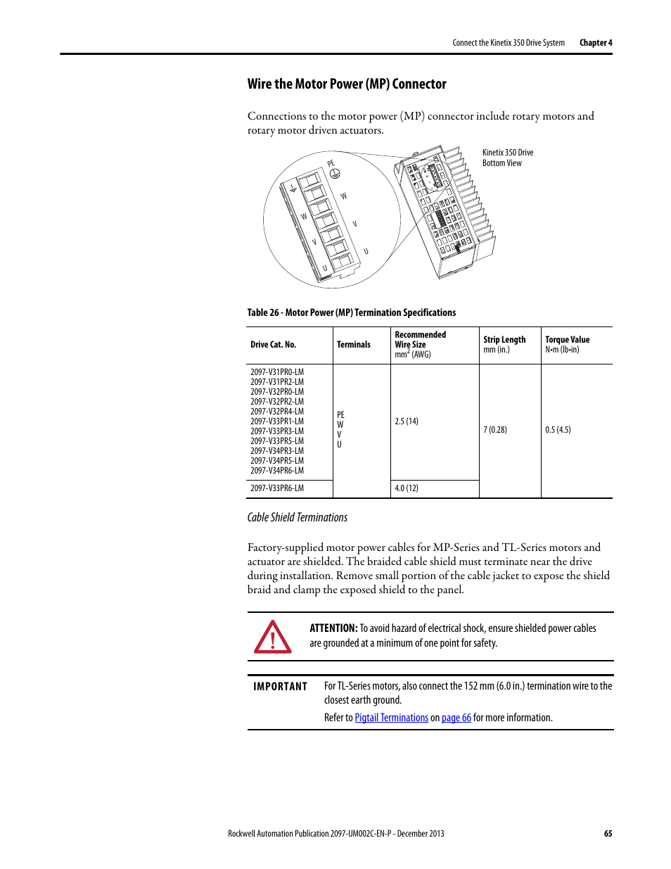 Wire The Motor Power Mp Connector Cable Shield Terminations Shielded Cord Wiring Diagram Rockwell Automation 2097