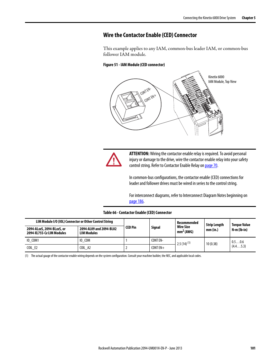 Wire The Contactor Enable Ced Connector Rockwell Automation 2094 Drive By Wiring Diagram Xmxx S Kinetix 6000 Multi Axis Servo Drives User Manual Page 101 286