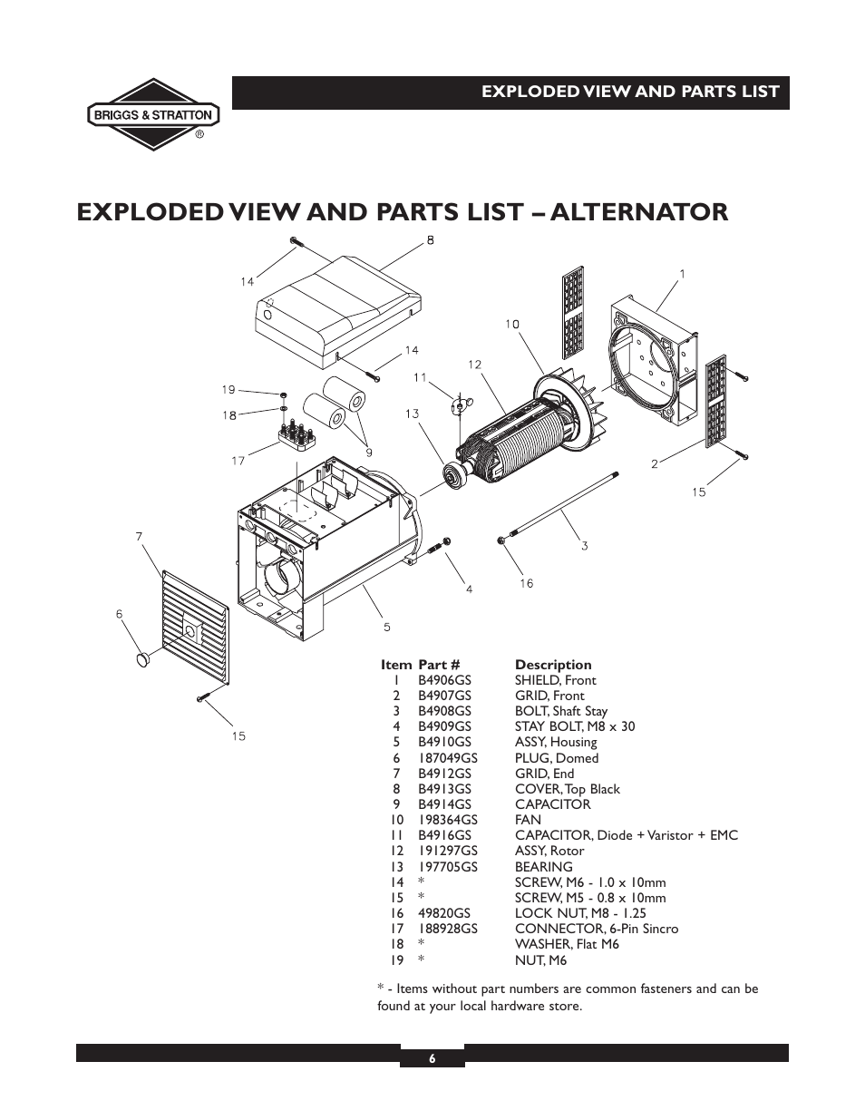 Exploded View And Parts List Alternator Briggs Stratton Elite Engine Diagram For 09801 9 User Manual Page 6