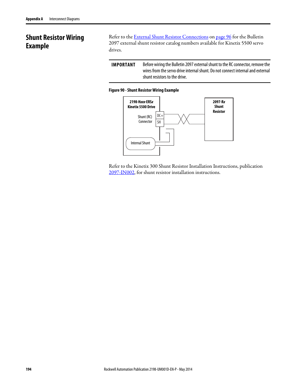 shunt resistor wiring example | rockwell automation 2198-hxxx kinetix 5500  servo drives user manual user manual | page 194 / 244