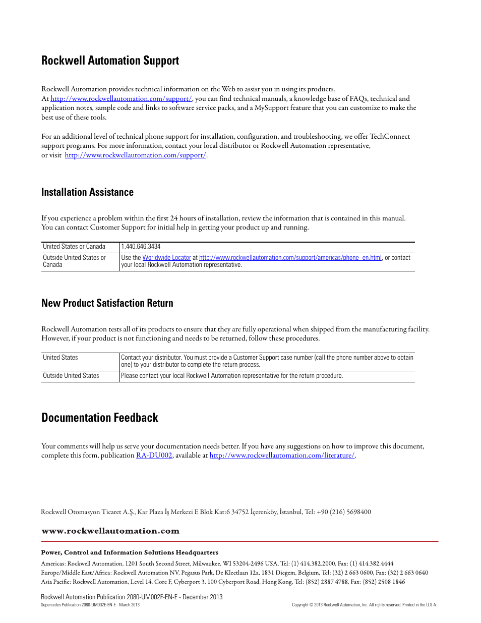 Back cover, Rockwell automation support, Documentation