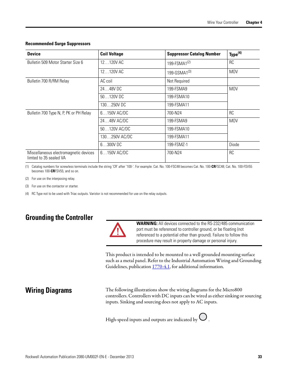 rockwell automation 2080 lc50 micro830 and micro850 programmable controllers user manual page47 grounding the controller, wiring diagrams, grounding the controller