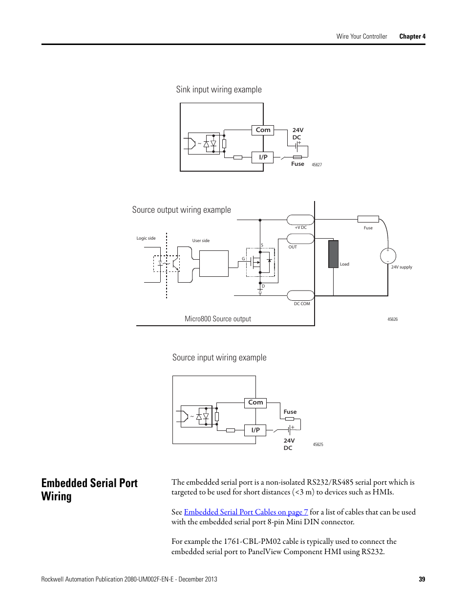 Embedded serial port wiring, Sink input wiring example ... on