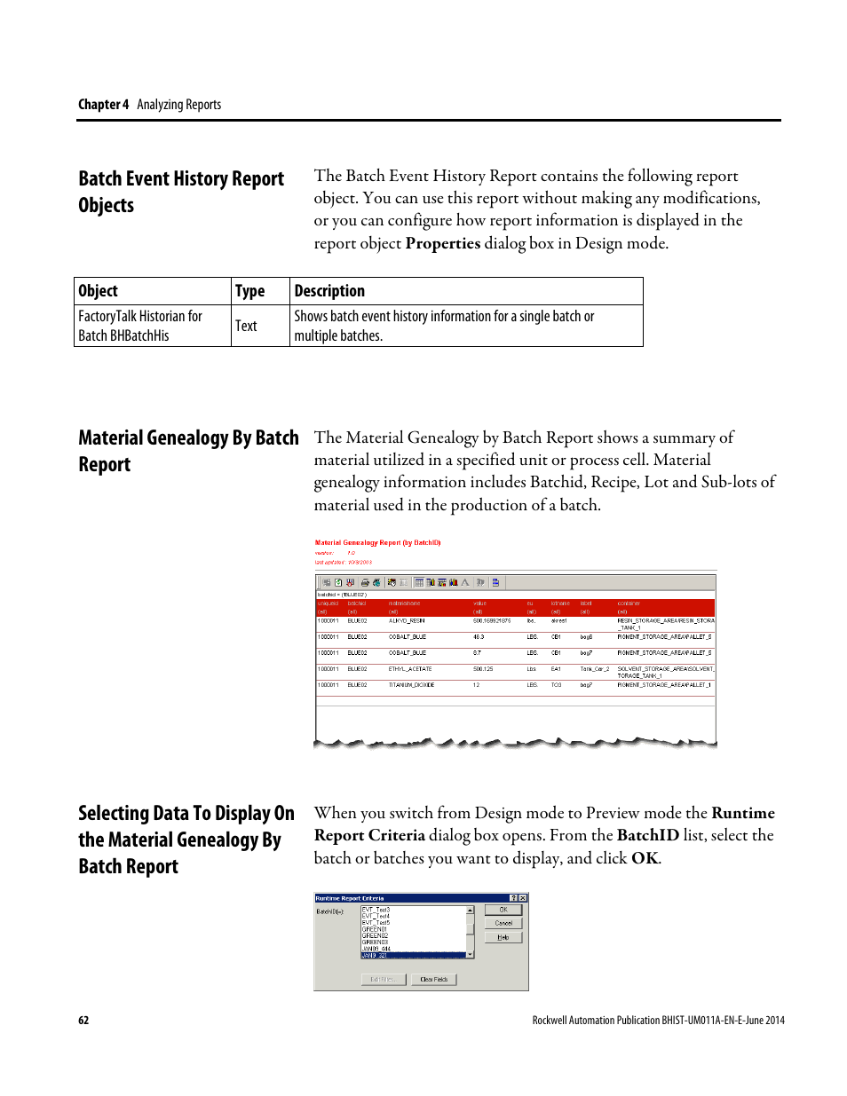 Batch Event History Report Objects  Material Genealogy By