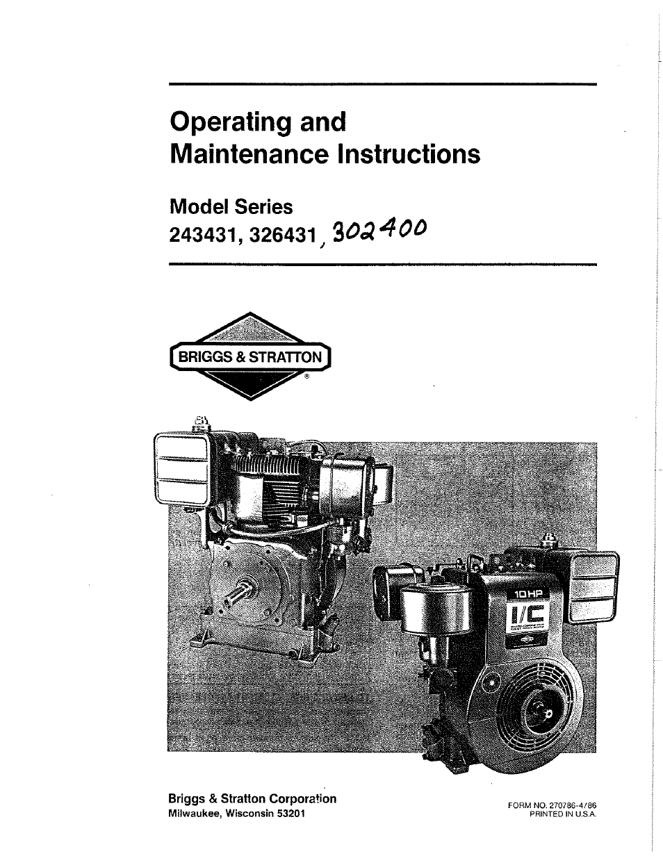 Briggs & Stratton 243431 Series User Manual | 10 pages | Also for: 302400  Series, 326431 Series