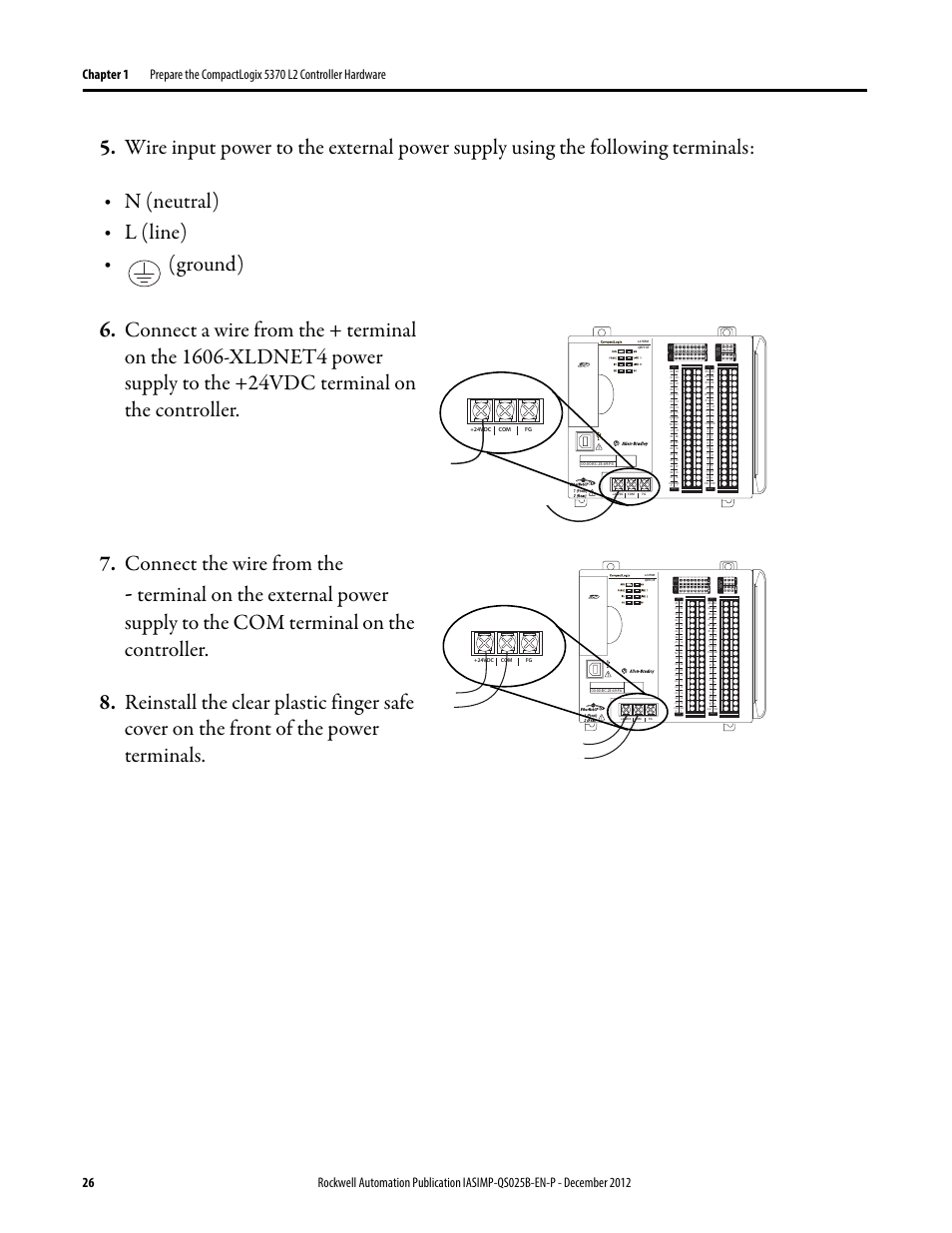 N Neutral L Line Dc Input 24vdc Sink Source 24vdc Source Output Dc Rockwell Automation 1769 L24er Qb1b L24er Qbfc1b L27erm Qbfc1b Compactlogix 5370 L2 Controllers Quick Start User Manual Page 26 86 Original Mode