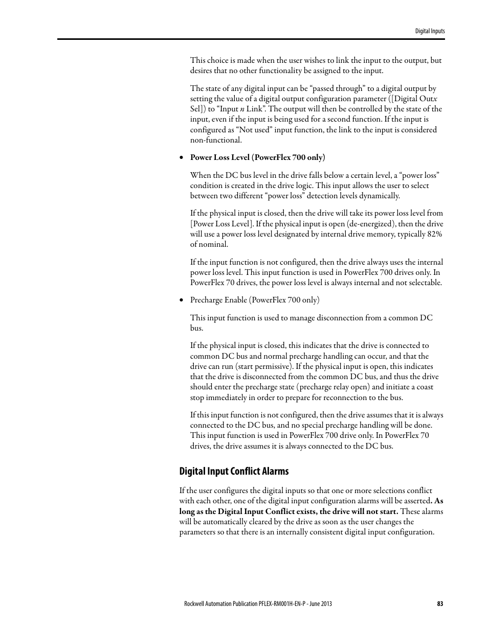 Digital input conflict alarms | Rockwell Automation 20B PowerFlex 70