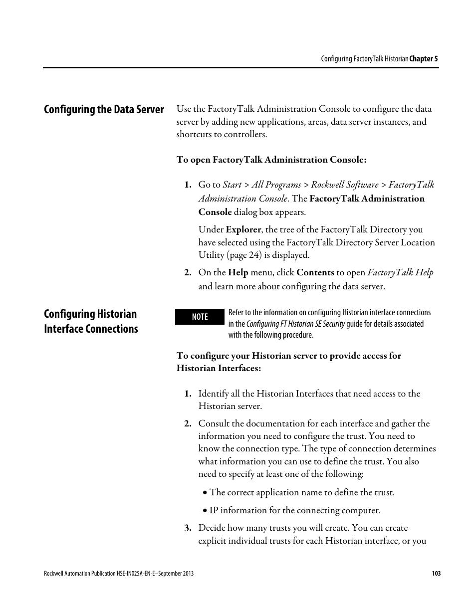 Configuring the data server, Configuring historian interface