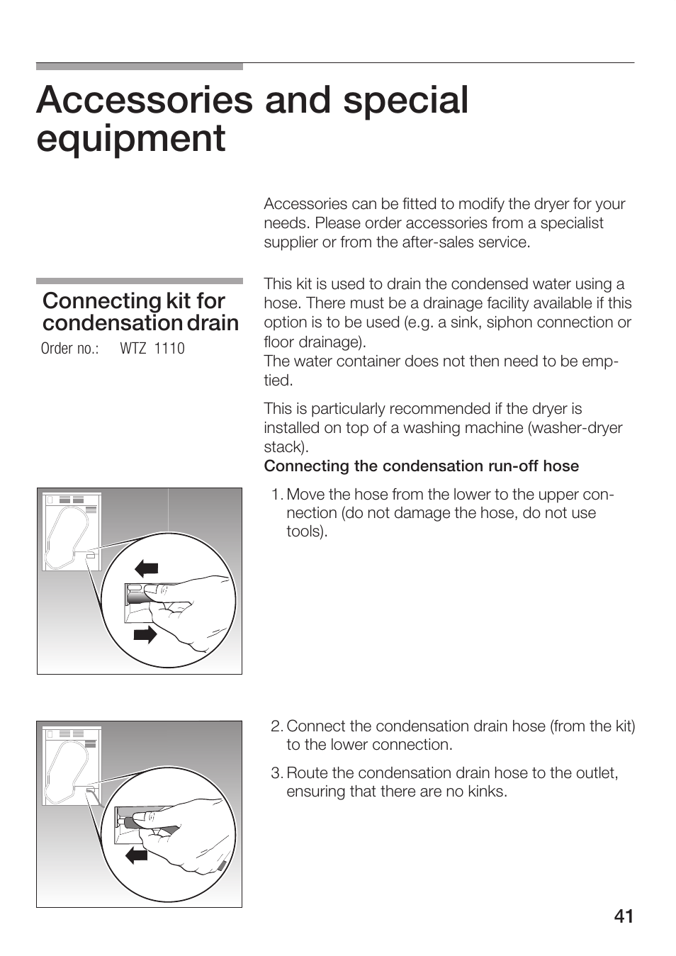 Accessories and special equipment, Connecting kit for condensation drain    Bosch Maxx WTL 6500 User Manual   Page 41 / 48