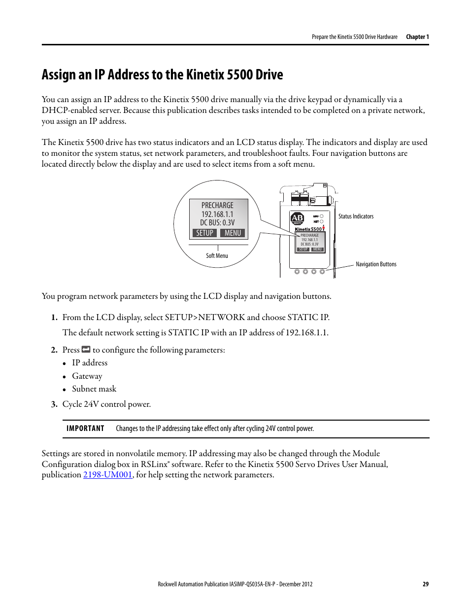 Assign an ip address to the kinetix 5500 drive, Assign an ip