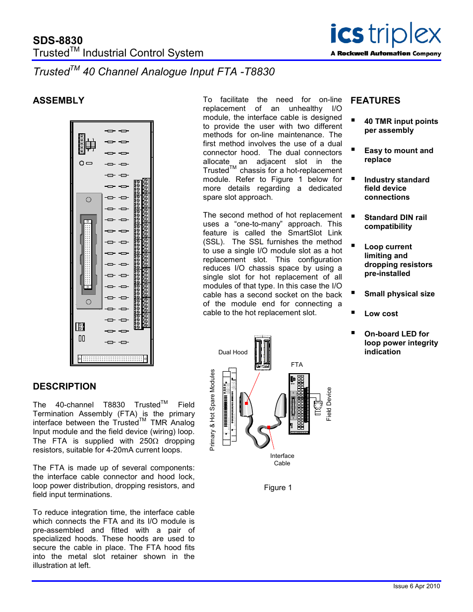 Rockwell Automation T8830 Trusted 40 Channel Analogue Input Fta User Industrial Wiring Diagram Honeywell Manual 2 Pages