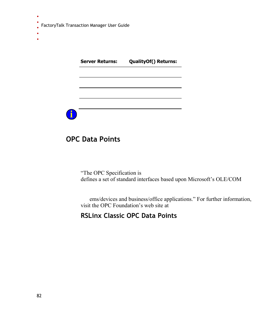 Opc data points, Rslinx classic opc data points   Rockwell