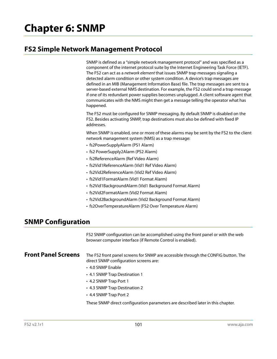 Chapter 6: snmp, Fs2 simple network management protocol, Snmp