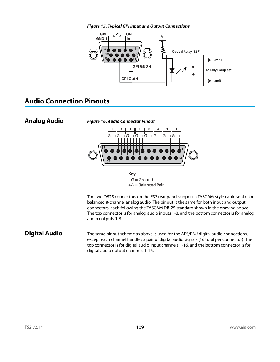 Audio connection pinouts, Analog audio, Digital audio | AJA FS2 ...