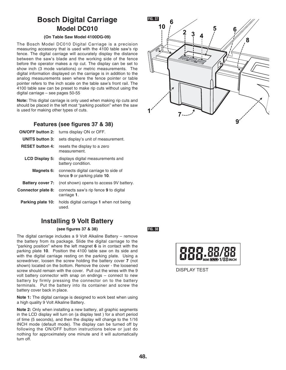 Bosch digital carriage, Model dc010, Installing 9 volt