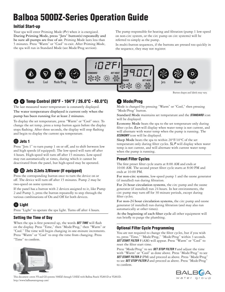 balboa temperature control manual on