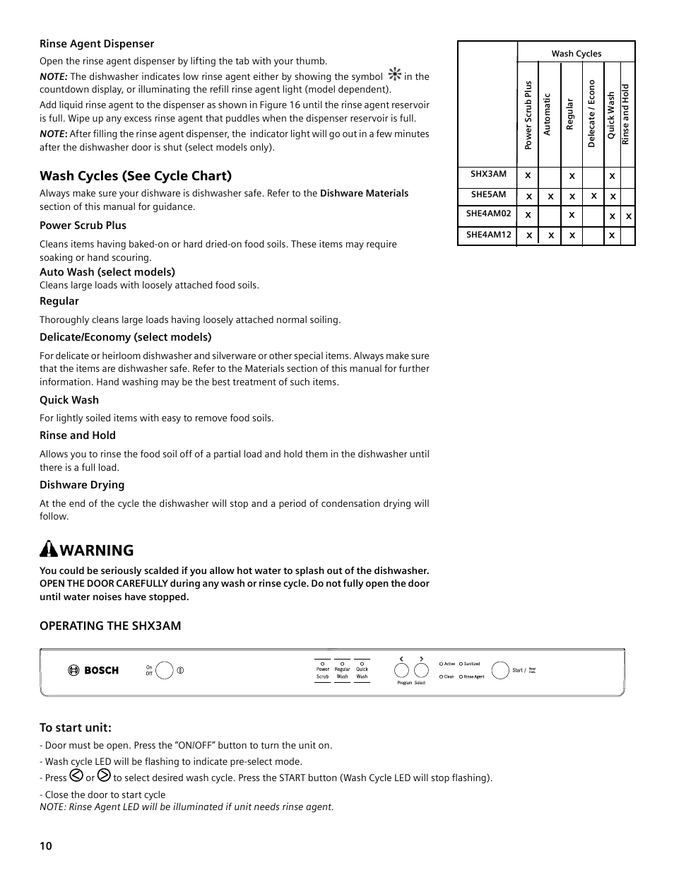 Warning, Wash cycles (see cycle chart) | Bosch SHE4AM User
