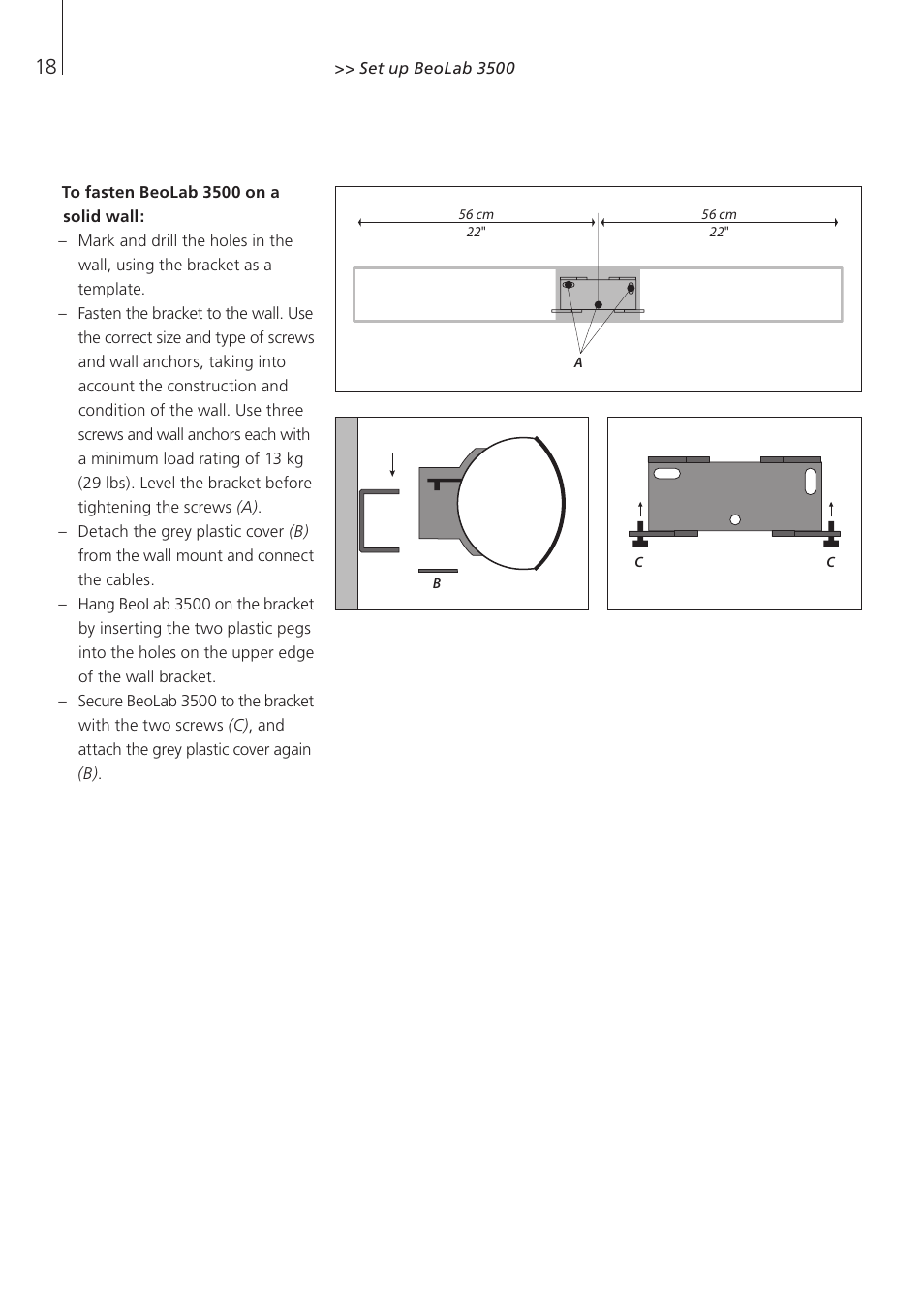 To fasten beolab 3500 on a solid wall bang olufsen beolab 3500 to fasten beolab 3500 on a solid wall bang olufsen beolab 3500 user guide user manual page 18 28 fandeluxe Choice Image