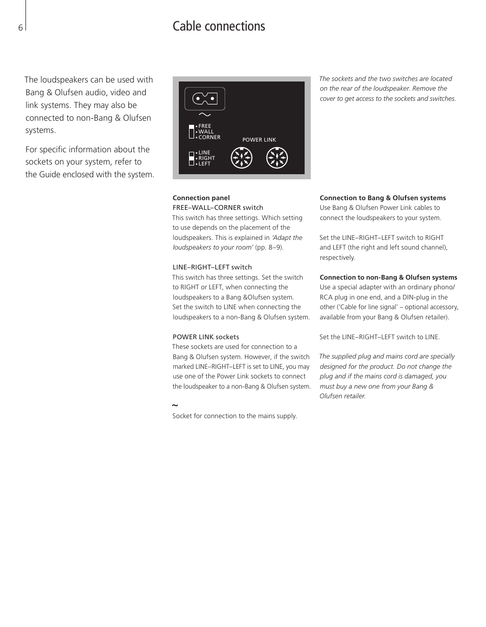 Cable connections | Bang & Olufsen BeoLab 9 - User Guide User Manual | Page  6