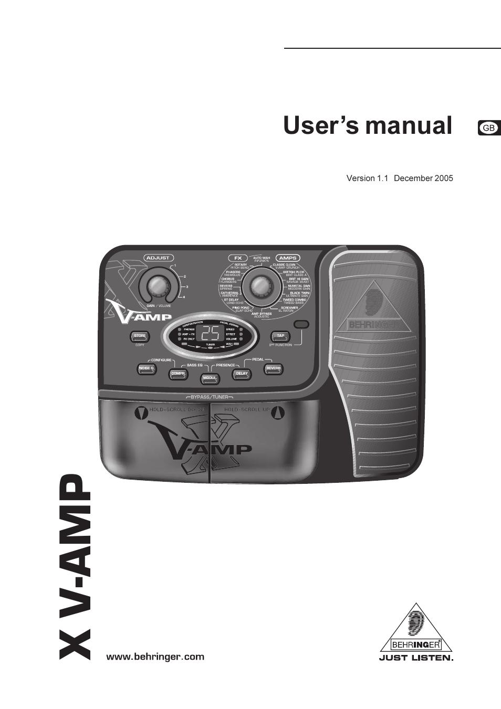 behringer x v amp user manual 13 pages rh manualsdir com behringer v amp manual behringer amp manual