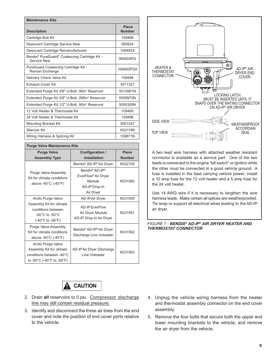 Bendix Commercial Vehicle Systems AD-SP SYSTEM PURGE AIR DRYER 10/04 User  Manual | Page 9 / 30 | Also for: AD-IP INTEGRAL PURGE AIR DRYER 5/07