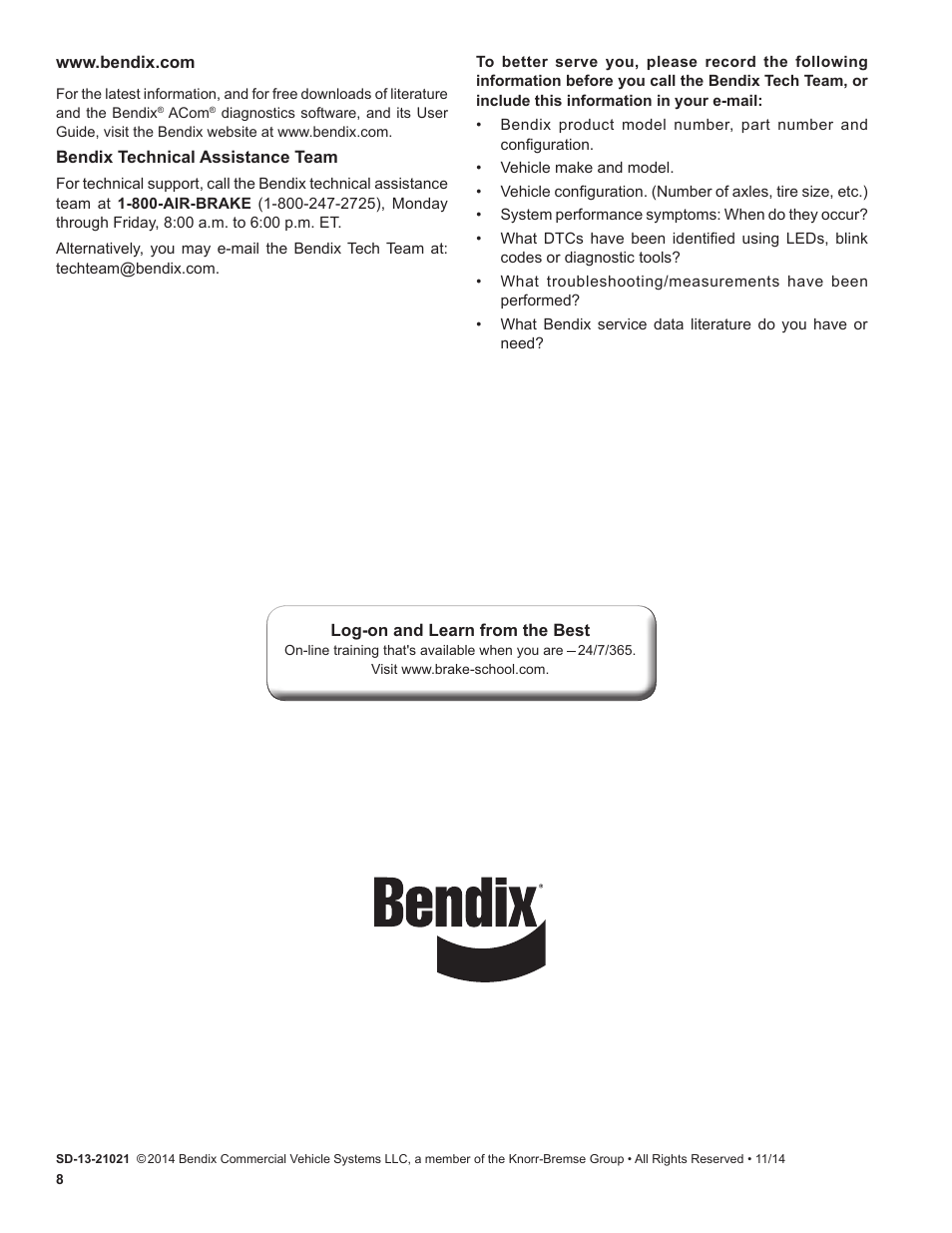 Bendix Commercial Vehicle Systems eTrac Automated Air Pressure Transfer  System User Manual | Page 8 / 8