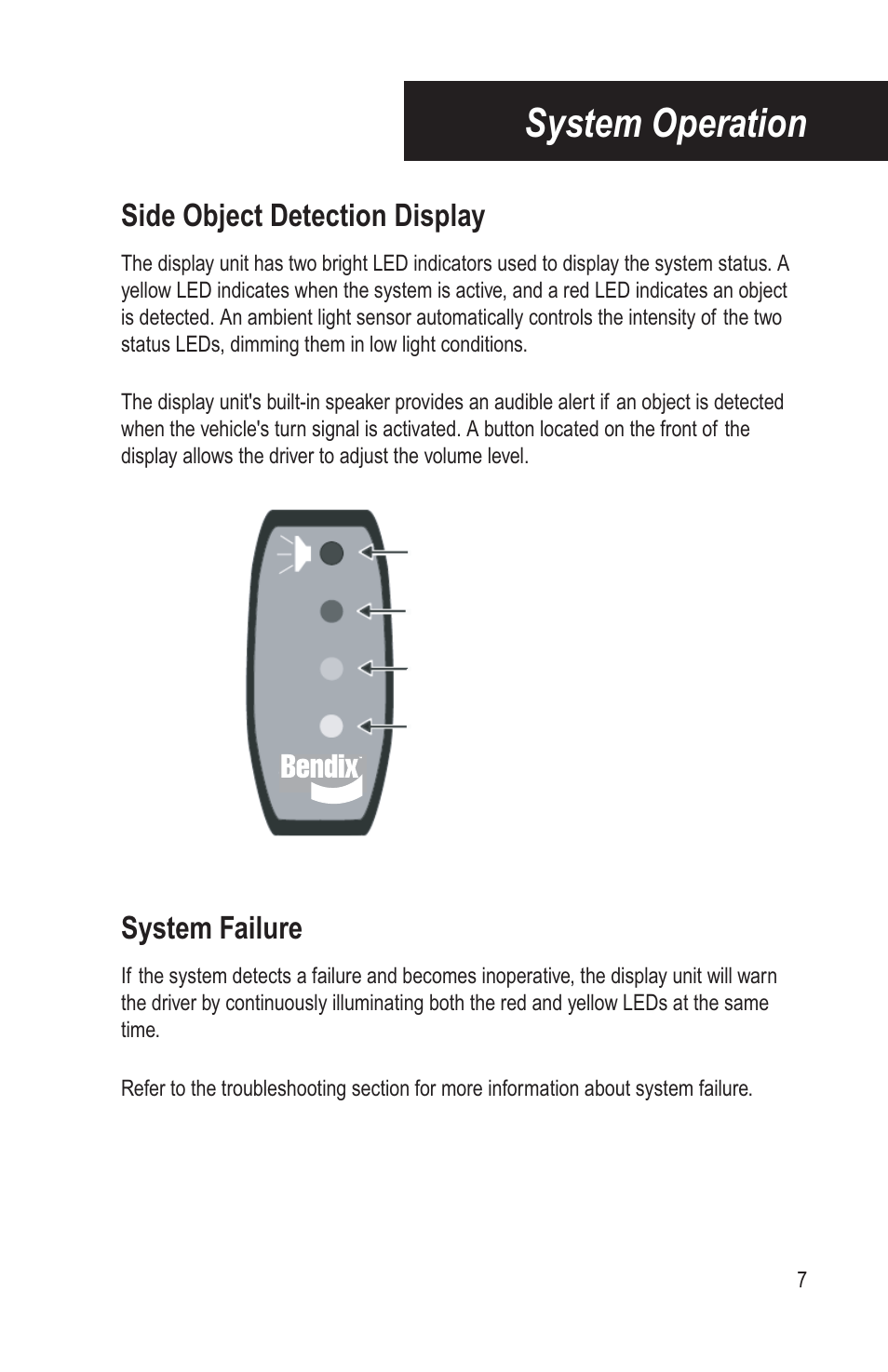 System Operation Side Object Detection Display Failure Turnsignal Systems Bendix Commercial Vehicle Blindspotter Installation Guide User Manual Page 9