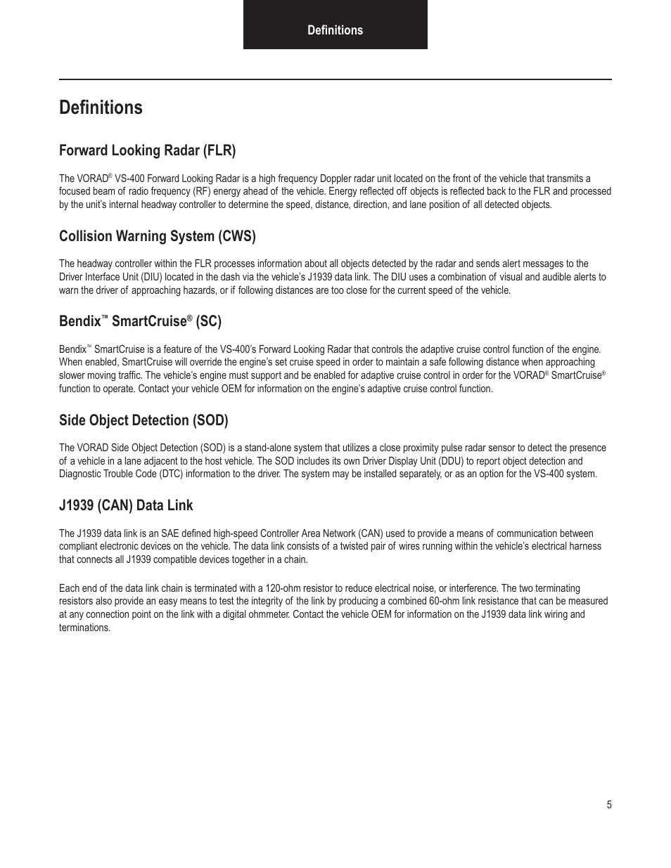 bendix commercial vehicle systems vorad vs 400 installation notes page7 definitions, forward looking radar (flr), collision warning system  at n-0.co
