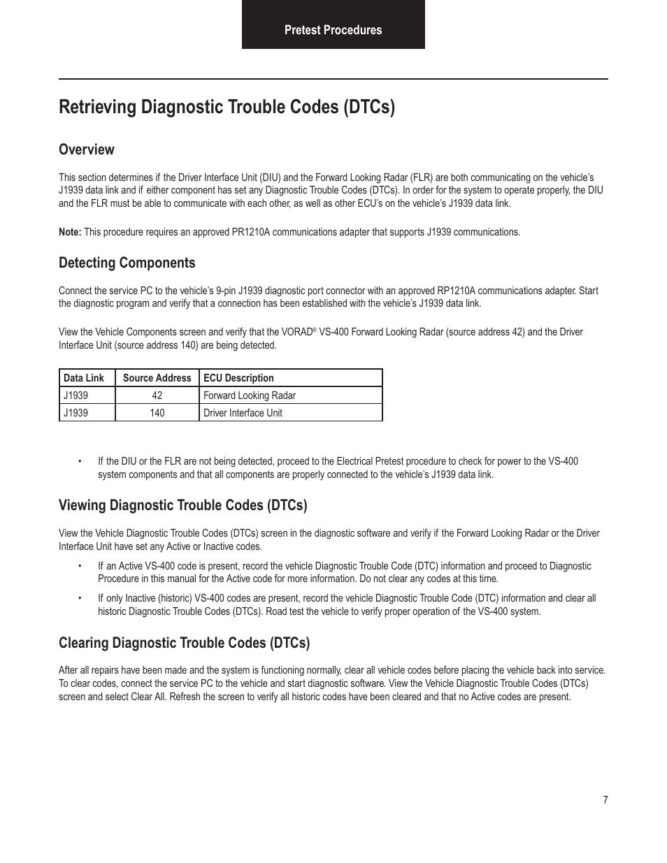 Retrieving diagnostic trouble codes (dtcs), Overview
