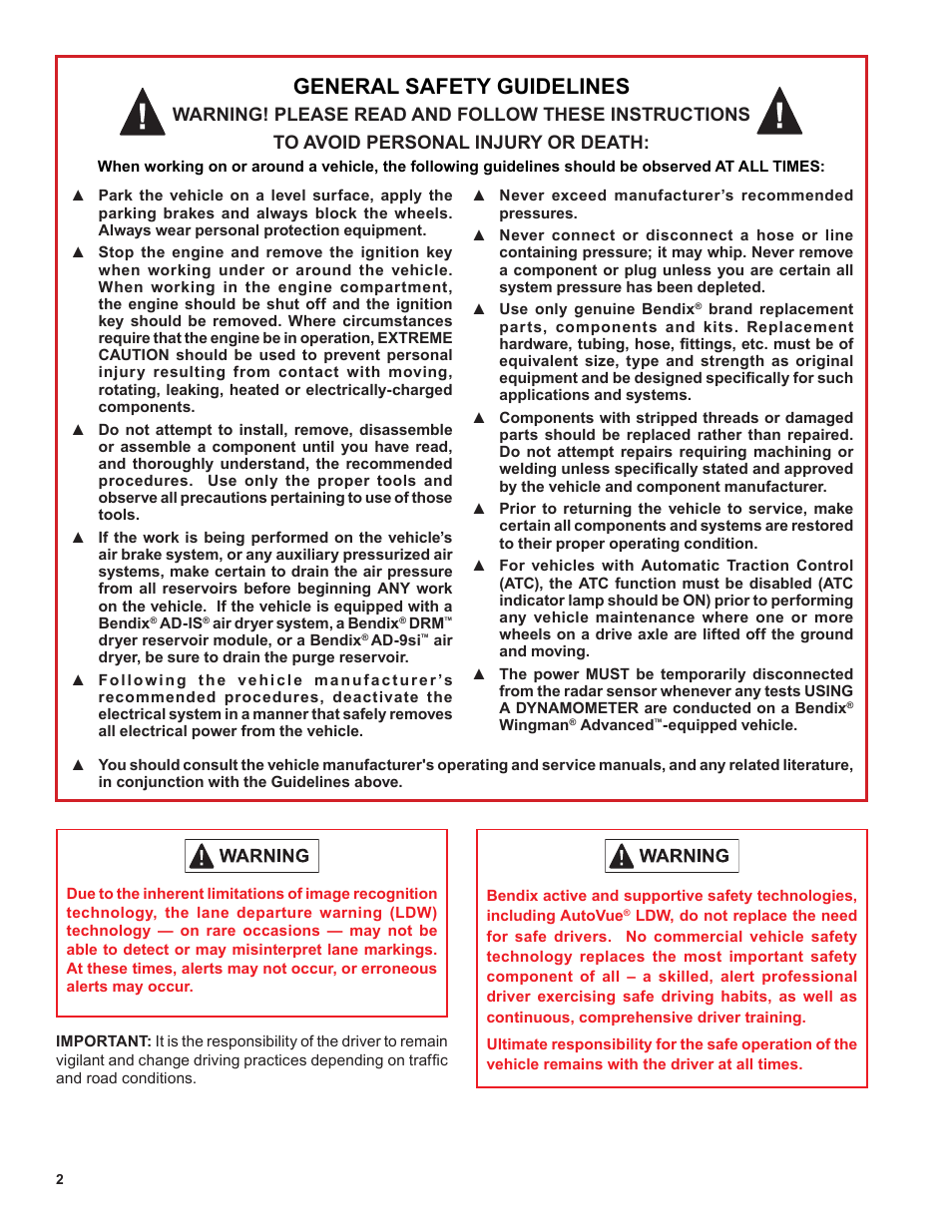 General safety guidelines | Bendix Commercial Vehicle