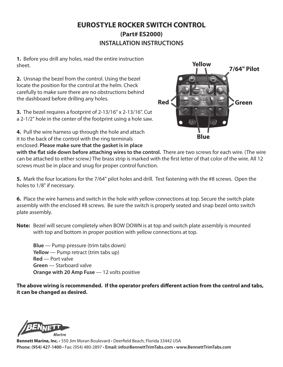Bennett Marine ES2000 Euro-Style Rocker Switch Control User Manual | 1 page