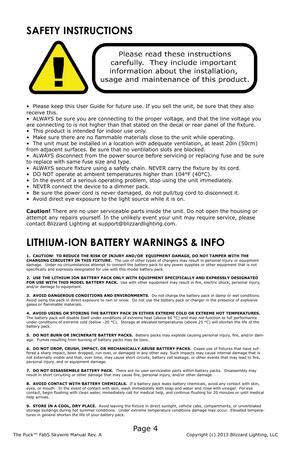 Safety instructions Lithium-ion battery warnings u0026 info Page 4 | Blizzard Lighting  sc 1 st  manualsdir.com & Safety instructions Lithium-ion battery warnings u0026 info Page 4 ...