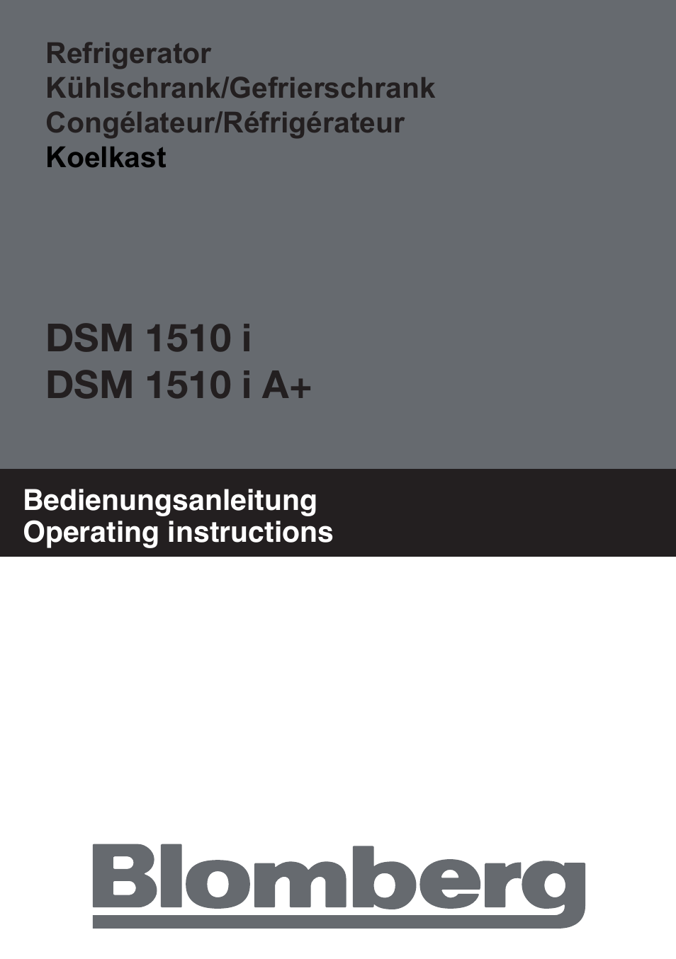 Blomberg DSM 1510 i User Manual | 135 pages | Also for: DSM 1510 i A+
