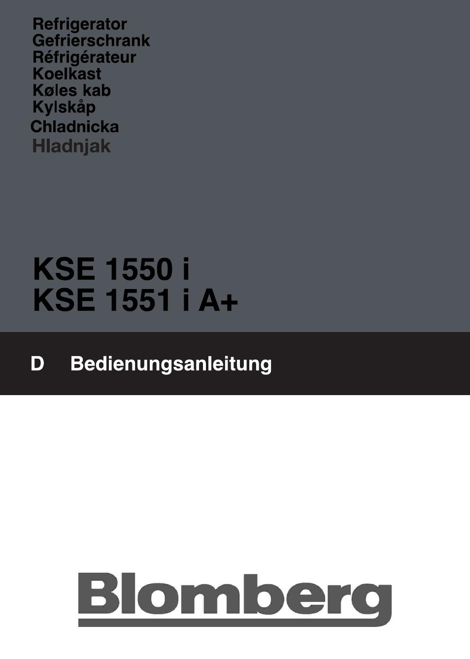 Blomberg KSE 1550 i User Manual | 157 pages | Also for: KSE 1551 i A+