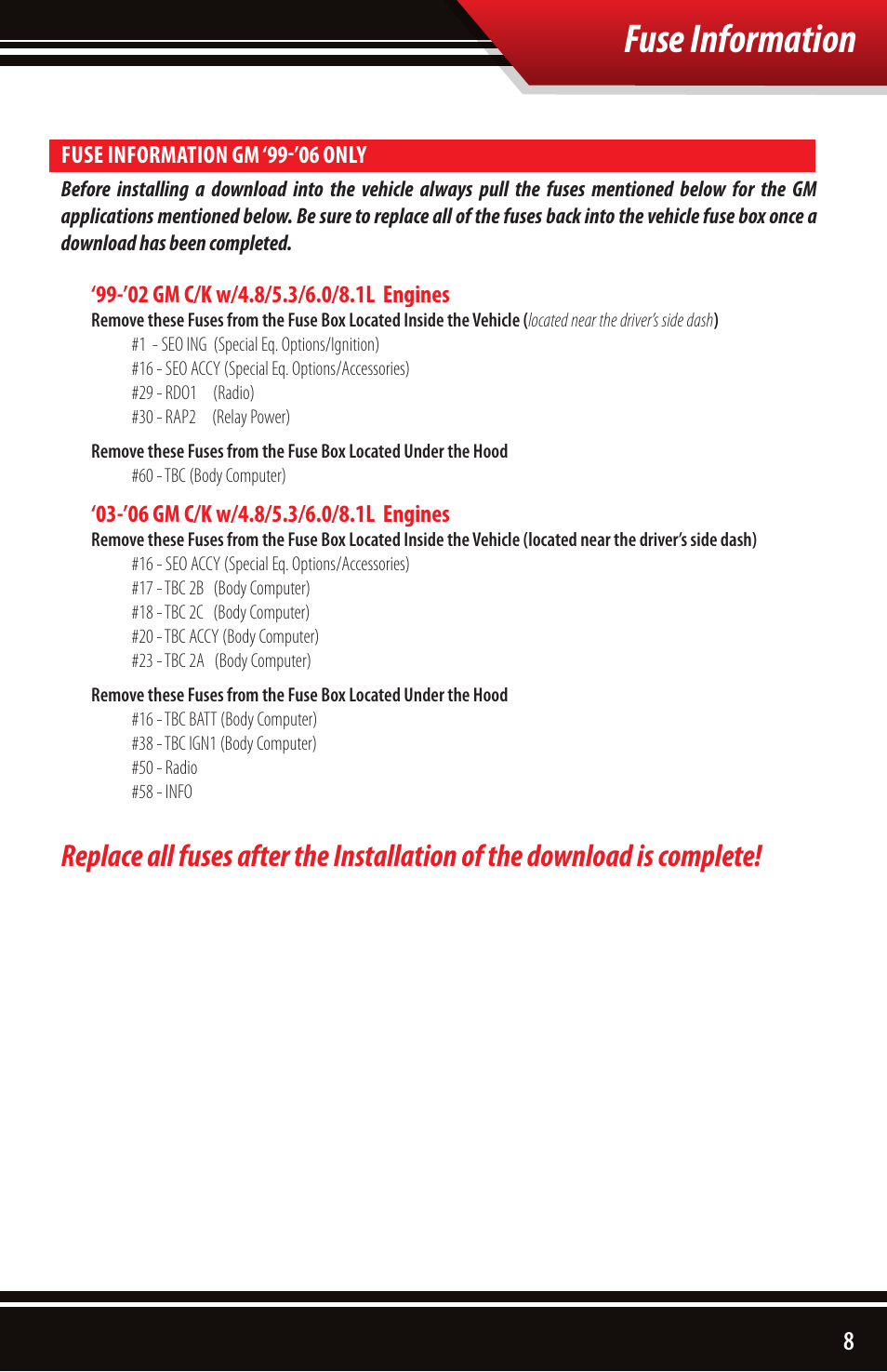 Fuse information | Bully Dog 40510 Triple Dog Gas Downloader User Manual |  Page 9 / 32
