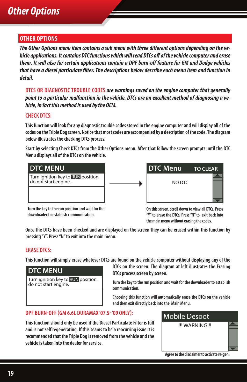 Other options, Dtc menu, Mobile desoot | Bully Dog 40502 TRIPLE DOG  DOWNLOADER User