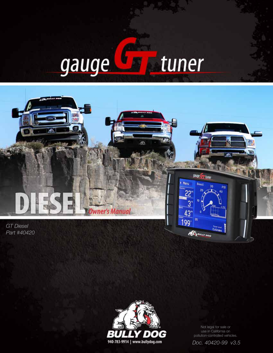 Bully Dog 40420 >> Bully Dog 40420 Gauge Gt Tuner User Manual 54 Pages