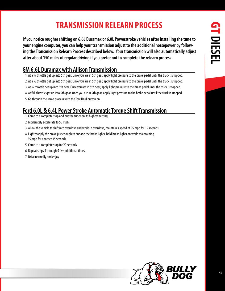 Duramax transmission user manuals array gt diesel transmission relearn process bully dog 40420 gauge gt rh manualsdir com fandeluxe Image collections