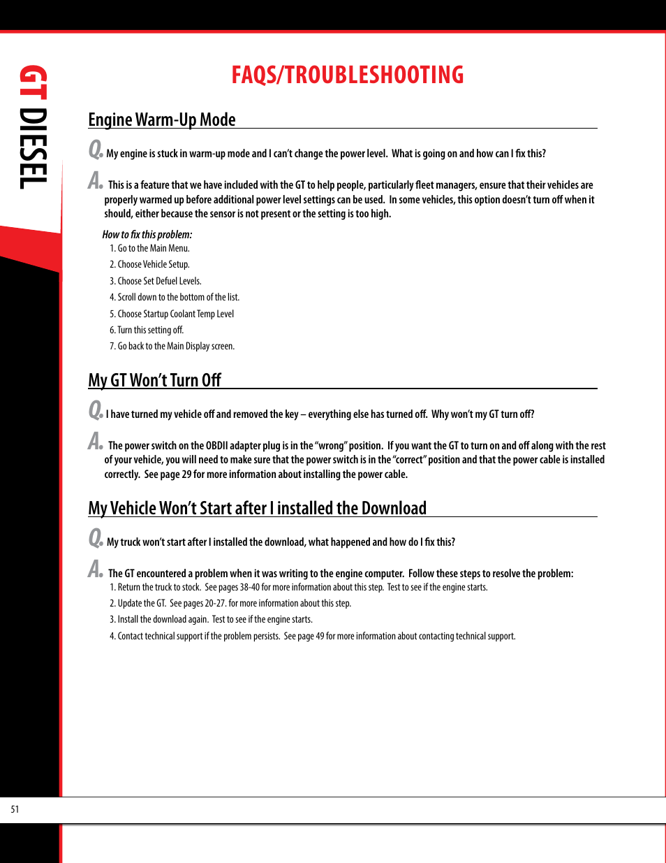 Bully Dog 40420 >> Gt diesel, Faqs/troubleshooting | Bully Dog 40420 gauge GT tuner User Manual | Page 52 / 54