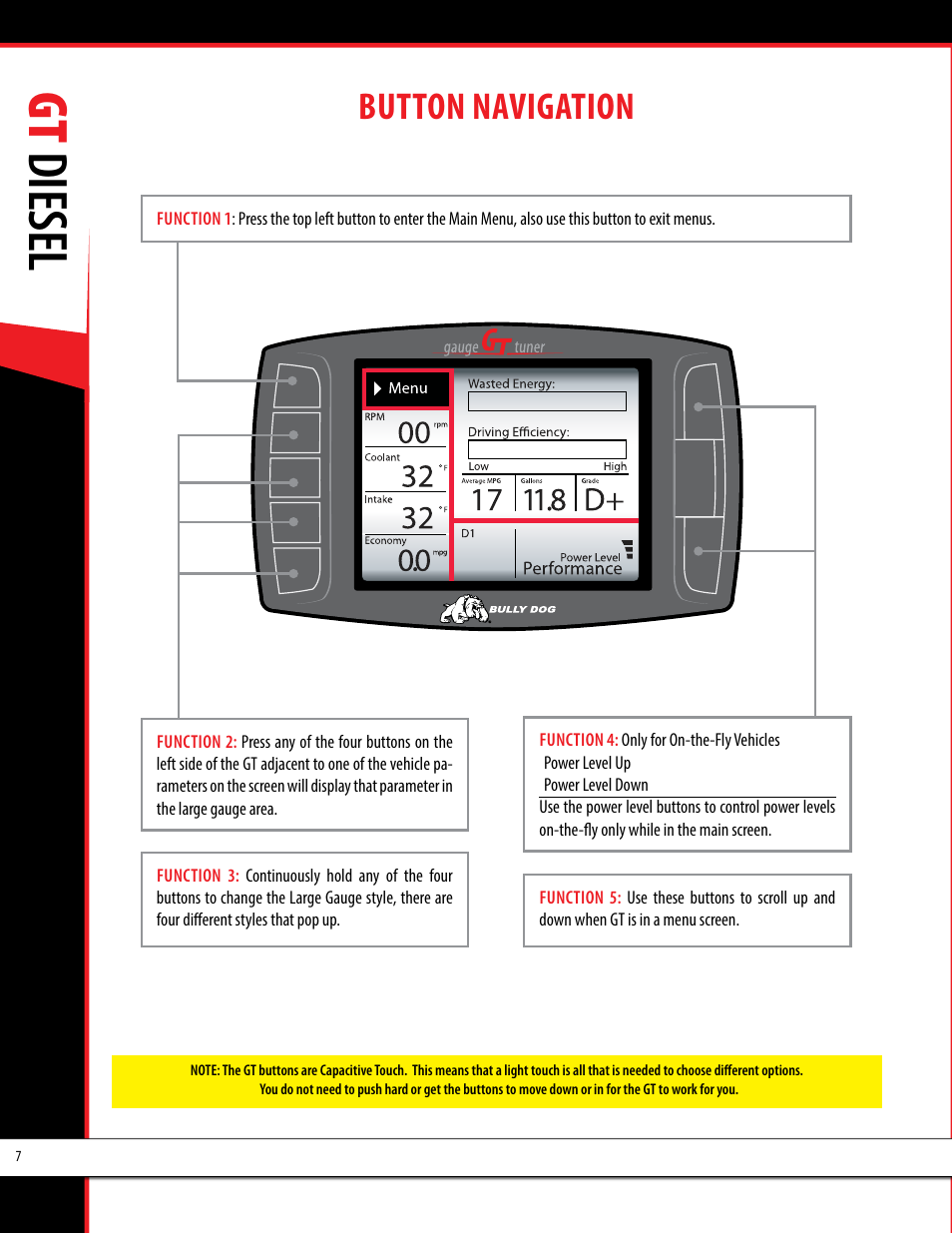 Bully Dog 40420 >> Gt diesel, Button navigation | Bully Dog 40420 gauge GT tuner User Manual | Page 8 / 54