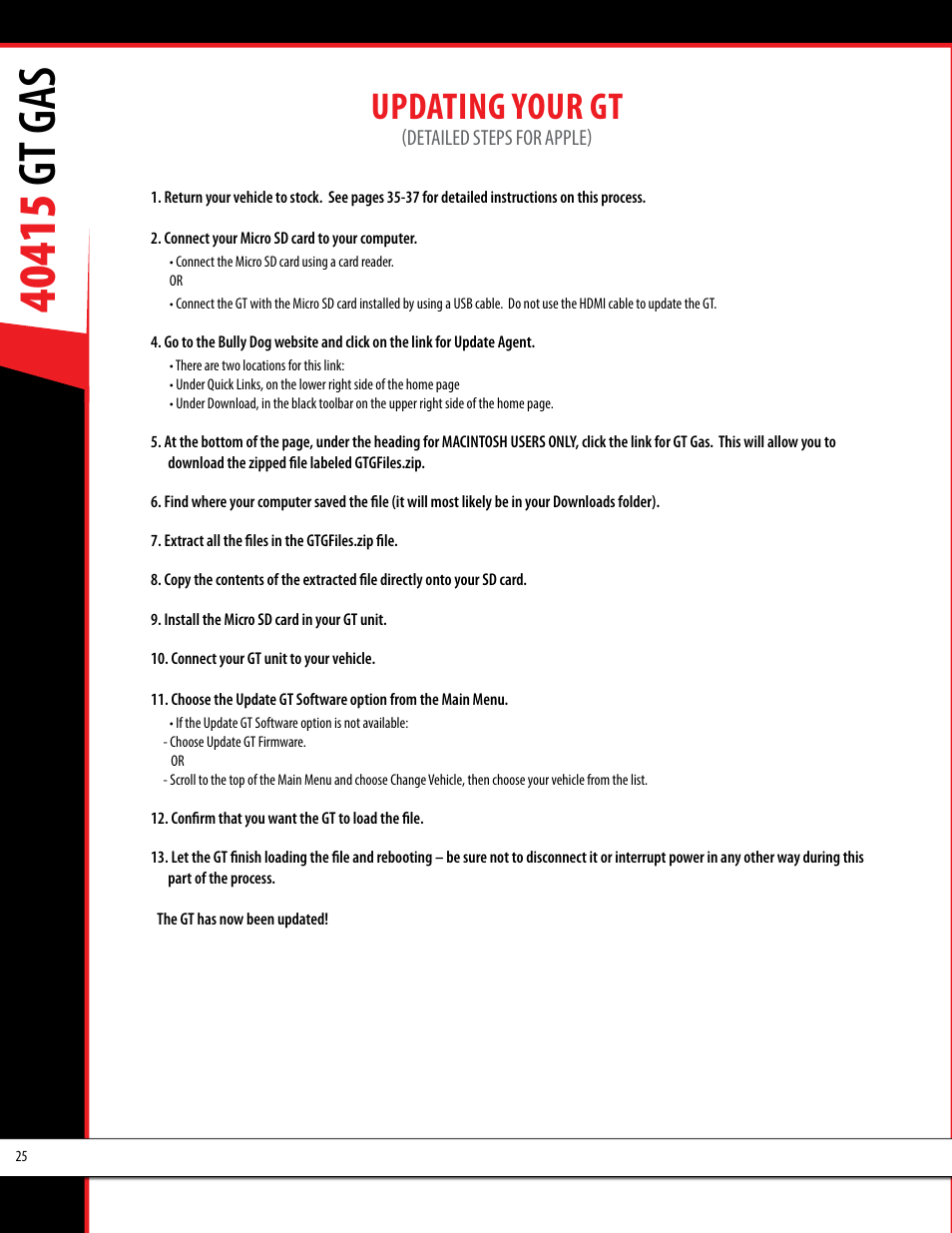 Updating your gt | Bully Dog 40415 gauge GT Gas tuner User Manual | Page 26