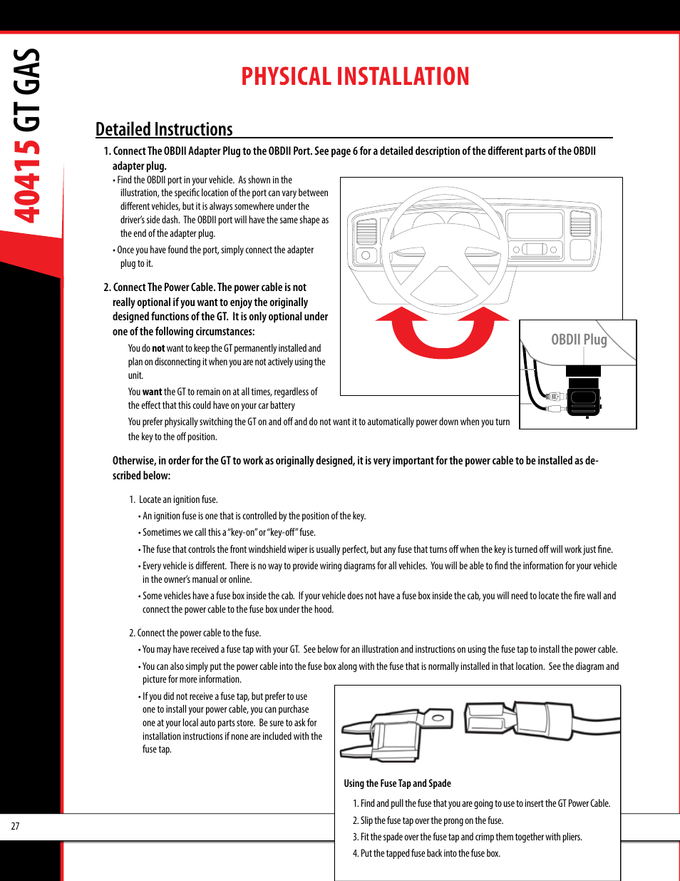 Physical installation, Obdii adapter plug installation diagram, Detailed  instructions | Bully Dog 40415 gauge GT Gas tuner User Manual | Page 28 / 51